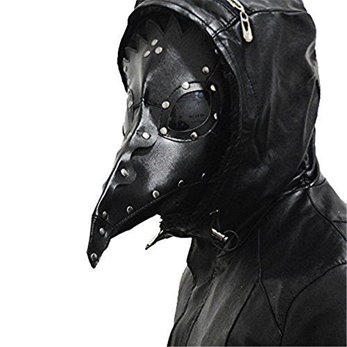 Crazy Mask (Kangkang@ Dr. Beulenpest Steampunk Plague Doctor Mask Beak Masks Steampunk Black PU Birds Halloween Art cosplay Carnaval Costume men (Black))