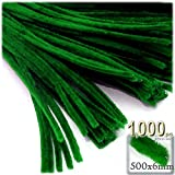 The Crafts Outlet Chenille Stems, Pipe Cleaner, 20-inch (50-cm), 1000-pc, Emerald Green