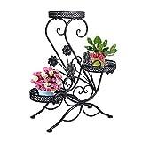 Cheap Dazone® 3-Tiered Scroll Decorative Metal Garden Patio Standing Plant Flower Pot Rack Display Shelf Holds 3-Flower Pot (Black)