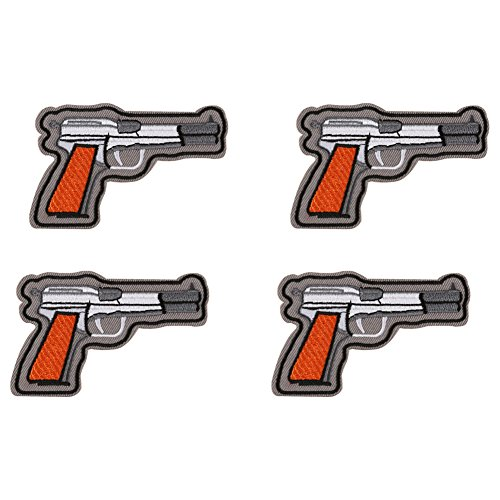 XUNHUI Gun Pistol Embroidered Patch for Clothing Iron Sewing Applique Clothes Stickers Badge Jeans Jackets Decoration DIY Patches 4 Pieces (Childrens Clothes Pillow Case Dress)