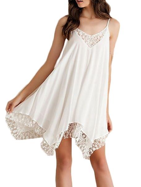 Vestidos Verano Mujer Elegantes Cortos Blancos Gasa Encaje Splicing Vestidos Playa Casual V Cuello Tirantes Hombros Descubiertos Irregular Sueltos Vestidos ...