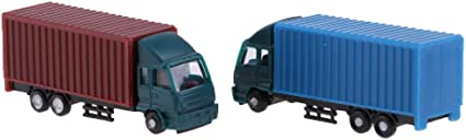 2Pcs Container Truck Construction Vehicle Freight Car Model 1:150 N Scale
