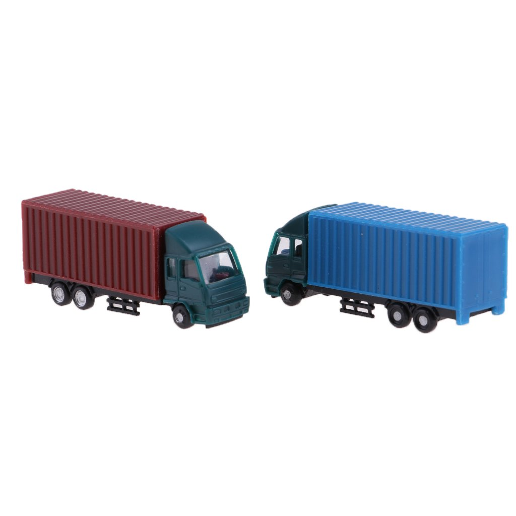 8x2.5x3.2cm 1:100 Escala sharprepublic Modelo 2Pcs Contenedor Truck Figure Z Scale Model Building Scenery Layout