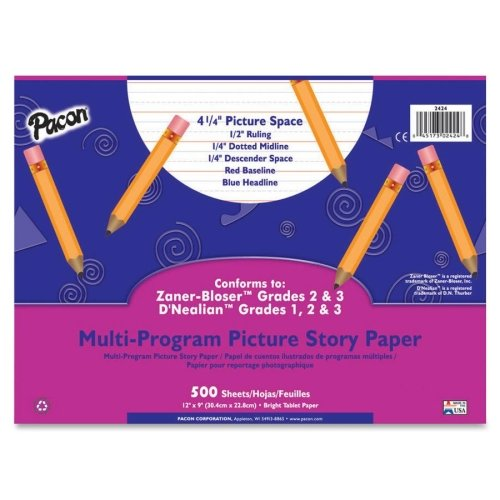 Wholesale CASE of 20 - Pacon Multi-program Picture Story Paper-Picture Story Paper,1/2'' Ruled,12''x9,500 Sheets/PK,White
