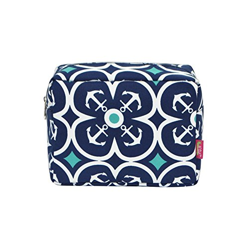 N. Gil Large Travel Cosmetic Pouch Bag 2 (Flower Anchor Navy Blue)