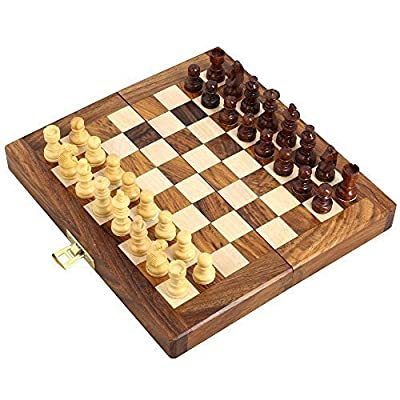 "Wooden Magnetic Travel Chess Set with Staunton Pieces and Folding Game Board 7"" Inch - Handmade By Artisans in India"