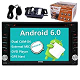 Eincar Pure Android 6.0 Car Stereo with Dual Cam-IN In Dash 2 Din GPS Navigation Car DVD Head Unit 6.2 inch Touchscreen support 1080P Screen Mirroring includes External MIC Remote Control Backup Cam