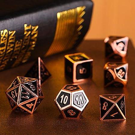 Blanc RanDal 7 Pcs//Set En Alliage M/étal Jeu De D/és Jeu De Jeu De Cartes De Poker Donjons Dragons F/ête Jeu De Soci/ét/é Jouet