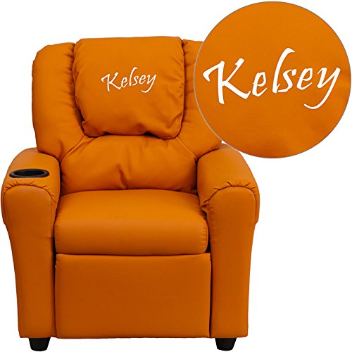 Flash Furniture Personalized Vinyl Kids Recliner with Cup Holder and Headrest, Orange