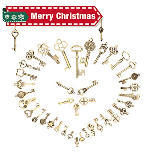 Jeteven 125pcs Vintage Skeleton Charm Key Set Necklace Bracelets Pendants Jewelry DIY Making Supplies Wedding Favors