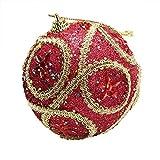 Christmas Ball Ornaments Christmas Rhinestone Glitter Baubles Balls Xmas Tree Ornament Decoration (8cm in Diameter) (Red)