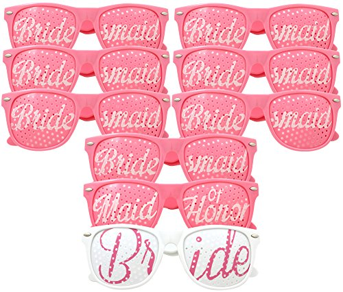 Bridal Bachelorette Party Favors - Wedding Kit - Bride & Bridesmaid Party Sunglasses - Set of 6 Pairs - Go Selfie Crazy - Themed Novelty Glasses for Memorable Moments & (Macho Man Costume Diy)