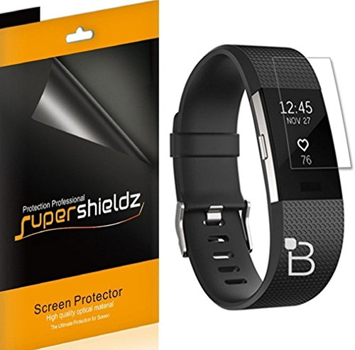 Price comparison product image [6-Pack] Supershieldz For Fitbit Charge 2 Screen Protector, [Full Screen Coverage] Anti-Bubble High Definition Clear Shield -Lifetime Replacements Warranty - Retail Packaging