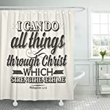 TOMPOP Shower Curtain Bible Lettering Christian I Can Do All Things Through Christ Which Strengtheneth Me Philippians 4 13 Waterproof Polyester Fabric 60 x 72 Inches Set with Hooks