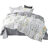 HIGHBUY Full Bedding Sets Floral 100% Premium Cotton Leaves Print Kids Queen Duvet Cover Set White Grey Chevron Striped Comforter Cover with Zipper Closure 3 Piece Set No Comforter