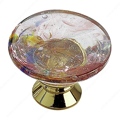 RICHELIEU HARDWARE - Eclectic Murano Glass KNOB - 183013021 (Brass/Harlequin Pink)