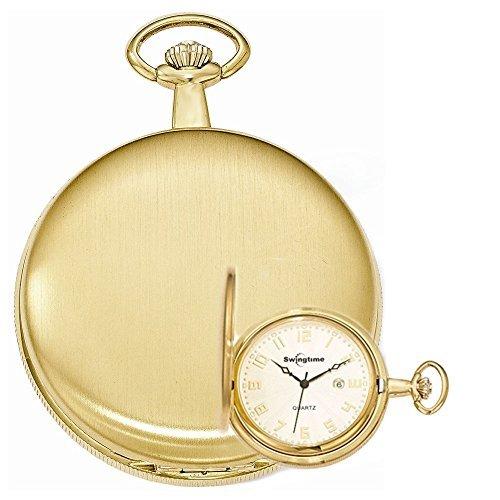 Swingtime Engravable Goldtone Brass Swiss Quartz Date Mens Pocket Watch