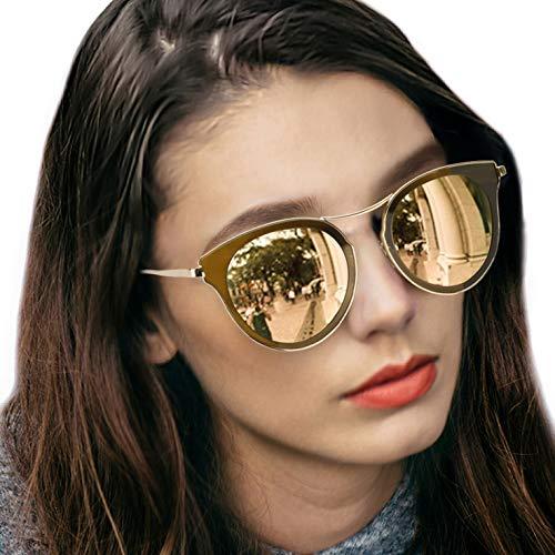 (LVIOE Cat Eye Women's Sunglasses, Polarized Fashion Vintage Eyewear for Driving - 100% UV400 Protection (Crystal Brown Gold Mirror Cat Eye Sunglasses))