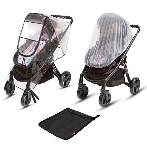 Ritmart Baby Stroller Rain Cover Universal + Mosquito Net (2-Piece Set), Waterproof, Windproof & Ventilation, Premium Travel Weather Shield Accessories, Shower Gift (Mosquito Select Net City)