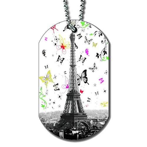 (Eiffel Tower Butterfly Swoop - Dog Tag Necklace)