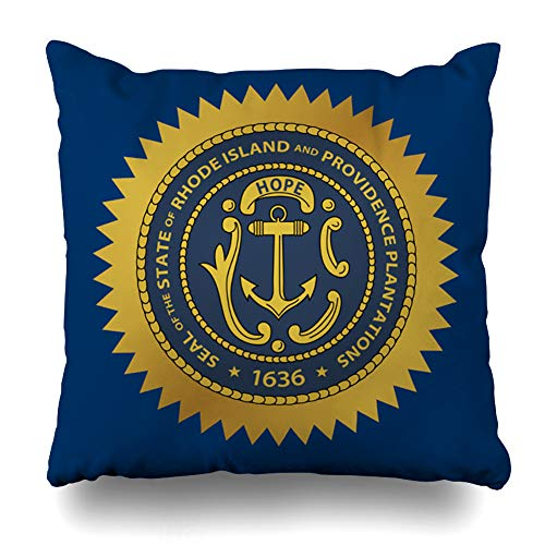 (WAYATO Pillow Case Cotton Polyester Blend Throw Pillow Covers Rhode Island State Seal Bed Home Decor Cushion Cover 18X18 Inch )