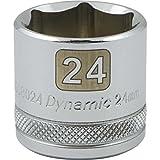 Dynamic Tools 3/8-Inch Drive 6 Point Metric, 24-Millimeter Standard Length, Chrome Finish Socket