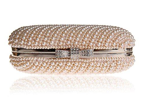 HONGCI Falso brillo reborde de perlas de la boda bolso de novia banda de diamantes de imitación noche bolso marco incorporado