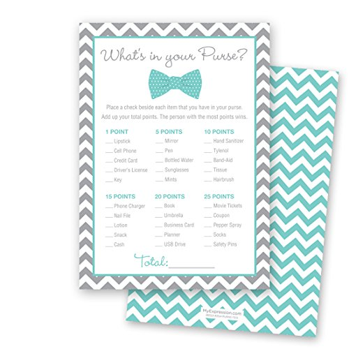 24 Bow Tie What's In Your Purse Game Cards (Teal)