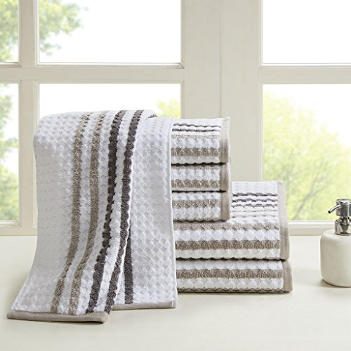 - Madison Park Rivington 6 Piece 100% Cotton Yarn Dyed Towel Set, See Below Below, Taupe