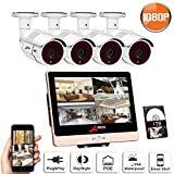 SW SWINWAY POE Surveillance Video Security System, Power over Ethernet Camera System 8Channel 12inch LCD Monitor NVR 4 Packs Waterproof Cameras 1TB Hard Drive Plug and Play, Easy Remote Viewing ANRAN