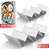 Taco Holder - Set of 2 Shell Racks - Stainless Steel Durable Taco Stand Tray - Ideal for Hard or Soft Shell Tacos - Oven & Dishwasher Safe Tacos Serving Tray or Taco Platter - Includes Recipe e-book