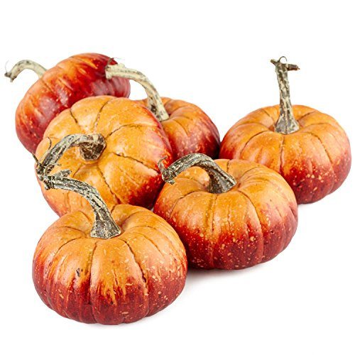 Factory Direct Craft Package of 6 Rustic Artificial Pumpkins for Halloween, Fall and Thanksgiving Decorating]()