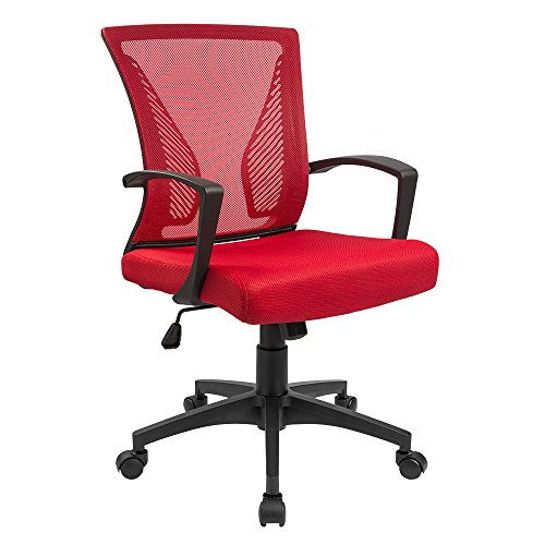 Furmax Office Chair Mid Back Swivel Lumbar Support Desk Chair, Computer Ergonomic Mesh Chair Armrest(Red)