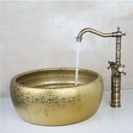 GOWE Double Handle Antique Brass Tap+Bathroom Sink Washbasin Ceramice Vessel Bath Sink Combine Set Torneira Tap Mixer Faucet 0