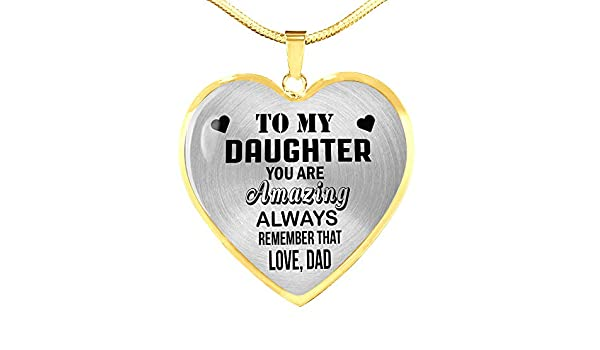 ZEN DEAL to My Daughter Amazing Love Dad Luxury Heart Shape Necklace Gift Birthday Sliver Heart Pendant