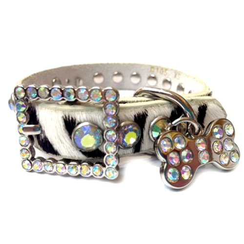 Studded Zebra - Zebra Patterned Leather Dog Collar with a Row of Clear Rhinestones With Rhinestone Studded Tag, Size M
