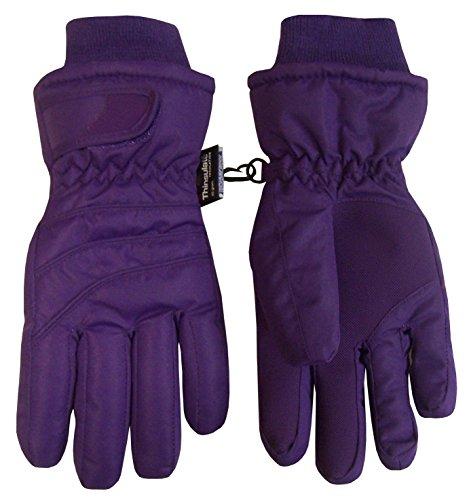N'Ice Caps Kids Bulky Thinsulate and Waterproof Ski Glove With Ridges (6-8yrs, Dark Purple)