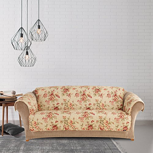 MN 1 Piece Beige Red Floral Theme Sofa Protector, Grey Teal Flower Pattern Couch Protection Flowers Roses Leaves Furniture Protection Cover Pets Animals Covers Nature, Polyester by MN