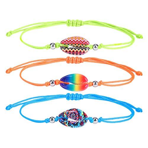 BOUTIQUELOVIN Cowry Seashell Beach Bracelet Set String Adjustable Handmade Bohemian Jewelry Cool Birthday Gifts for Teen Girls