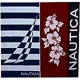 Nautica Hibiscus Red and Jclass Border Beach Towel Set