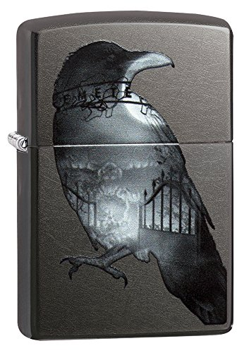 Zippo Exposed Raven Pocket Lighter, Gray Dusk