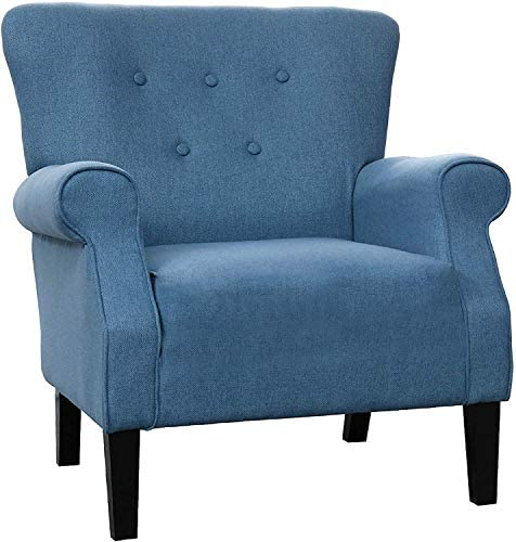 LOKATSE HOME Modern Classic Accent Fabric Arm Chair, Linen Upholstered Single Sofa with Solid Wood Legs for Living Room, Bedroom, Club, 29.3 x28.7 x39.6 , Blue