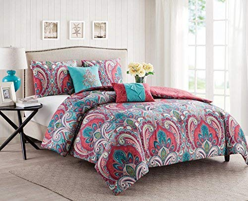 VCNY Home Twin Size Quilt Set in Multicolor Bohemian Style Paisley 4 Pc Set w/Sheets & Decorative Pillows
