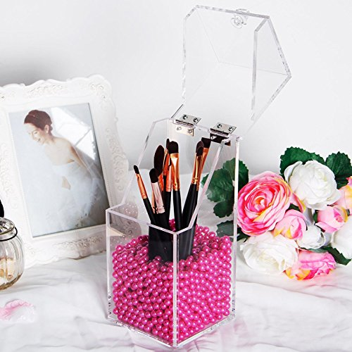 Amazon.com: Makeup Brush Holder Dustproof Storage Box 5mm Thick Acrylic Organizer Container Organizador De - Organizador De Maquillaje: Home Improvement