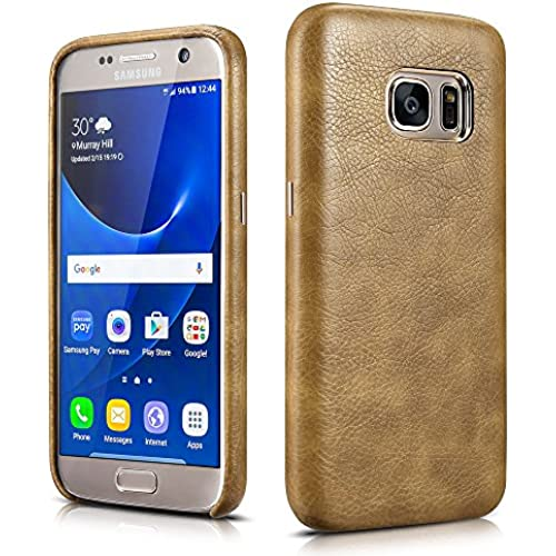 Samsung Galaxy S7 Leather Case, Xoomz Premium Synthetic PU Leather Back Cover Vegan Leather Snap Case with Slim Sales