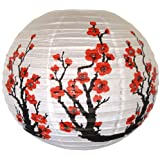 "Just Artifacts Red Sakura (Cherry) Flowers White Color Chinese/Japanese Paper Lantern/Lamp 16"" Diameter - Just Artifacts Brand"