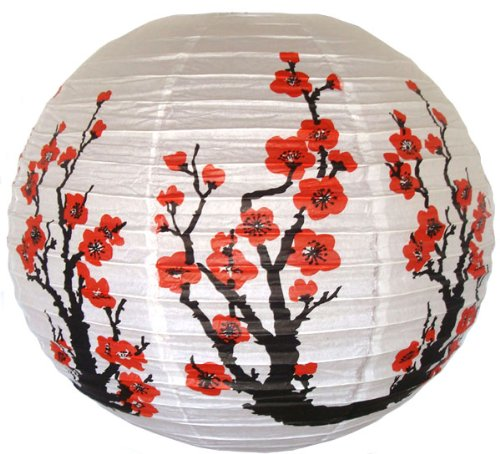 - Just Artifacts Red Sakura (Cherry) Flowers White Color Chinese/Japanese Paper Lantern/Lamp 16