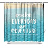 InterestPrint Inspirational Quote On Blue Ocean Sea Make Everyday an Adventure Decor Waterproof Polyester Bathroom Shower Curtain Bath with Hooks, 72x 72 Inches