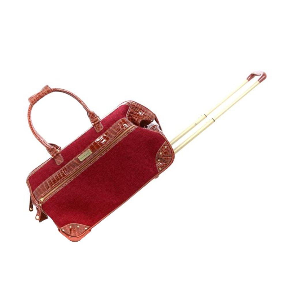 Samantha Brown Tweed Tweed Wheeled Weekender Luggage Set - Burgundy