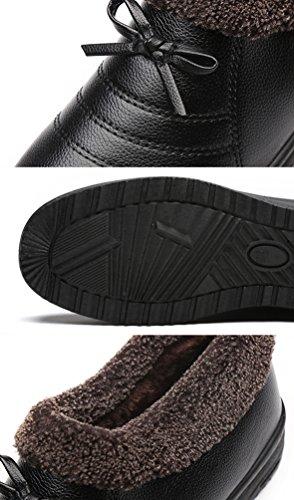 CHENGYANG Damen Stiefel Reißverschluss Warm Gefüttert Knöchelhoch Boots Schuhe Flache Schneestiefel Schwarz